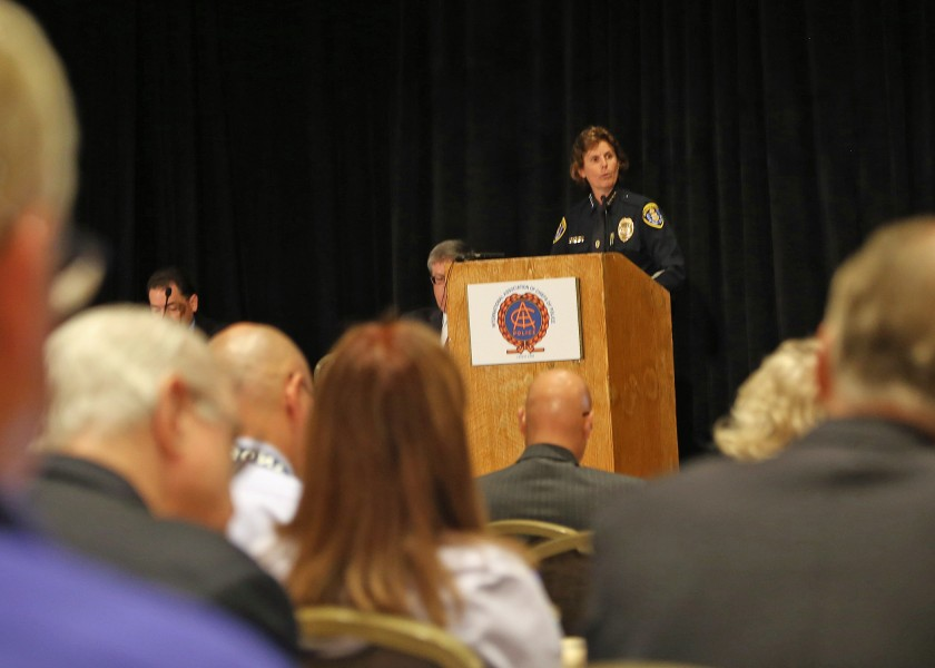 San Diego Police Chief Shelley Zimmerman welcomed attendees to the IACP LEIM conference and shared details of her department's rollout of body worn cameras. Photo Dale Stockton