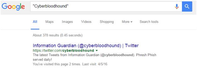 Cyberbloodhound Google screenshot