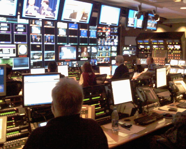 Where the magic happens: The control room of a major news network.